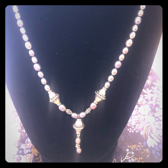 Casey Keith Design Jewelry - Pearl and Nugget Toggle Clasp Y necklace